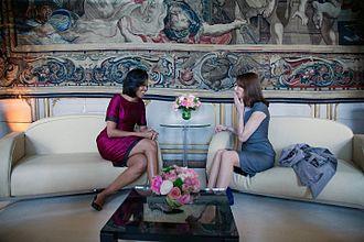 Carla Bruni - Carla Bruni with Michelle Obama, 3 April 2009
