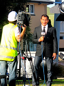 Mike McRoberts broadcasting from the February 2011 Christchurch earthquake