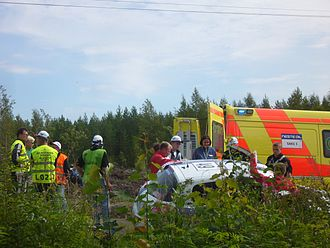 2007 Rally Finland - Milos Komljenovic had to retire after a bad landing from a jump on SS7.