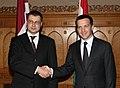 Ministru prezidents Valdis Dombrovskis tiekas ar Ungārijas premjerministru Gordonu Bajnai (3663988375).jpg