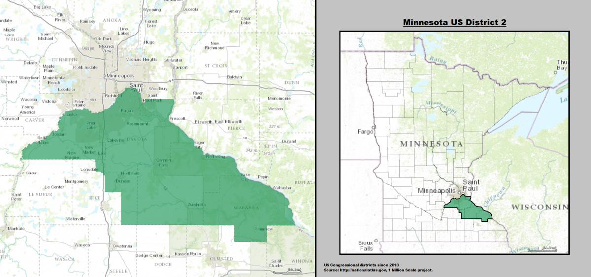 Minnesotas Nd Congressional District Wikipedia - Mn on us map