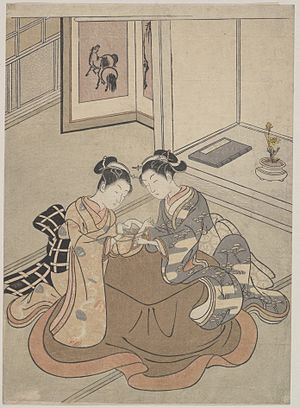 "Cat's cradle - ""Two Young Women Seated by a Kotatsu Playing Cat's Cradle"", Suzuki Harunobu, ca. 1765"