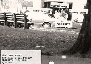Surveillance photo of Mafia leaders John Gotti...