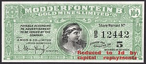 Waterlow and Sons - Image: Modderfontein B. Gold Mines Limited dividend coupon