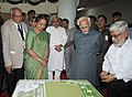 Mohd. Hamid Ansari being briefed about the model of University, at the first convocation of the Central University of Bihar, at Patna. The Speaker, Lok Sabha, Smt. Meira Kumar and the Chief Minister of Bihar.jpg