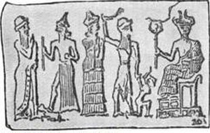 Child sacrifice - Babylonian cylinder seal representing child sacrifice