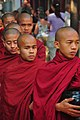 Monks on their way to breakfast, Mahagandhayon Monastery, Amarapura, Mandalay, Myanmar - 20100125.jpg