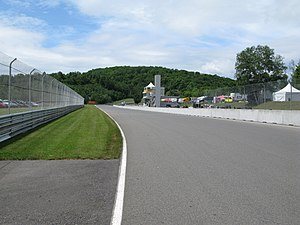 Circuit Mont-Tremblant - The Control Tower and start-finish straight, looking west against the flow of the circuit, towards the Namerow corner.