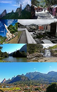 Top left:Dedo de Deus in Serra dos Órgãos National Park, Top right:A view of Feirinha do Alto area, Second left:Matriz de Santa Teresa church in Baltasar Square, Second right:Agrioes downtown area,Third left:Lago Comary (Comary Lake),Third right:Cachoeira dos Friars Natural Park, Bottom:A view of Carlos Guinle area