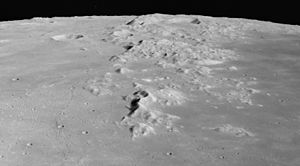 Montes Caucasus - Oblique view facing north from 106 km altitude of the southern Montes Caucasus, from Apollo 15