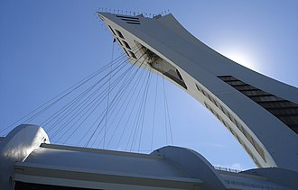 Retractable roof - Tower and cables for retractable roof at the Montreal Olympic Stadium