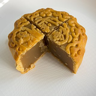 Mooncake Chinese bakery product traditionally eaten during the Mid-Autumn Festival