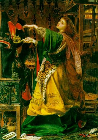 "Morgan le Fay - Morgan le Fay by Frederick Sandys (1864)  ""Here she stands in front of a loom on which she has woven an enchanted robe, designed to consume the body of King Arthur by fire. Her appearance with her loose hair, abandoned gestures and draped leopard skin suggests a dangerous and bestial female sexuality. The green robe that Morgan is depicted wearing is actually a kimono."""