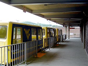 Personal rapid transit - A vehicle on West Virginia University's PRT system, Morgantown, West Virginia