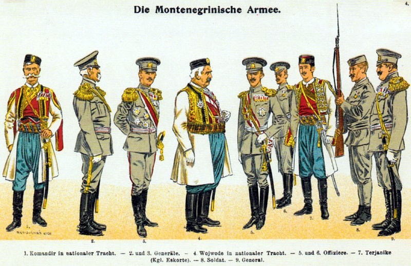 Moritz Ruhl - Montenegrinische Armee 1914 - Paradeuniformen