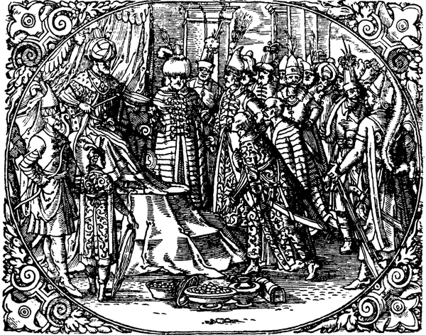 Engraving from the book Sigmund Herberstein. Ambassadors present gifts the Tsar of Muscovy Moscovia.png