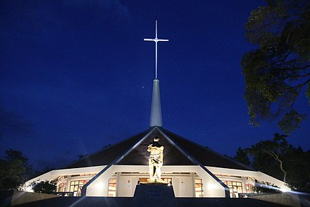 Shrine in Munyonyo constructed as thanksgiving for the canonisation of Uganda Martyrs Munyonyo Martyrs Shrine at night.jpg