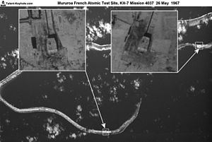Moruroa - KH-7 satellite reconnaissance image of the Mururoa Atomic Test Site in French Polynesia, May 26, 1967