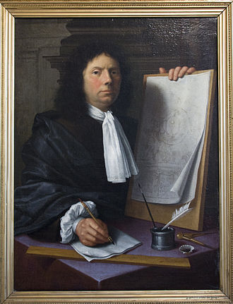 Jean Del Cour - Jean Del Cour, with his plan for an altar at Herkenrode abbey, painted by his brother Jean-Gilles Delcour.