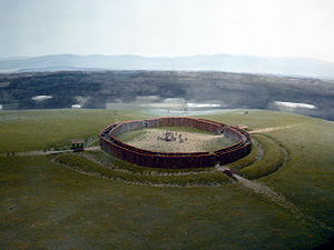 Neolithic circular enclosures in Central Europe - Reconstruction (model) of the Künzing-Unternberg rondel, Museum Quintana, Künzing, Lower Bavaria