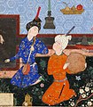 Musicians on daf and kamancha by Mir Sayyid Ali.jpg