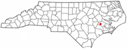Location of Cove City, North Carolina