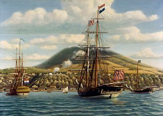 Ensign of the United States - First official salute to the U.S. flag on board the U.S. warship Andrew Doria  in a foreign port, at St. Eustatius in the West Indies, on November 16, 1776