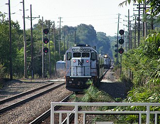 Atlantic City Line - Two Atlantic City Line trains perform a scheduled meet at a passing siding in Cherry Hill