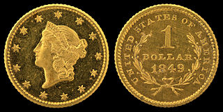 gold dollar coin of the United States depicting the goddess Liberty, minted from 1849 to 1889