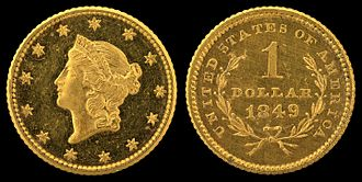 Gold dollar - Image: NNC US 1849 G$1 Liberty head (Ty 1)