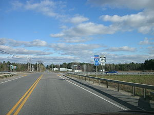 New York State Route 191 - 2010 photo of NY 191 eastbound at I-87 near the hamlet of Chazy