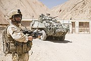 NZ Army soldier and NZLAV in Afghanistan