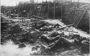 Chemical weapons in World War I - British emplacement after German gas attack (probably phosgene)