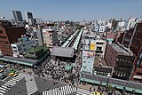 Nakamise, Asakusa, Tokyo as seen from the Asakusa Culture Tourist Information Center 20190420 2.jpg