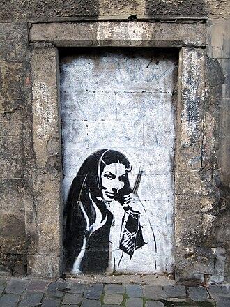 Stencil graffiti - Stencil graffiti on a wall in Namur, Belgium