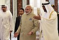 Narendra Modi being welcomed by Crown Prince of Abu Dhabi, Deputy Supreme Commander of U.A.E. Armed Forces, General Sheikh Mohammed Bin Zayed Al Nahyan, on his arrival, at Abu Dhabi, United Arab Emirates (3).jpg