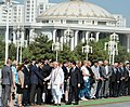 Narendra Modi meeting the Turkmenistan delegation at Ceremonial Welcome, at Independence Square, in Oguzkhan Palace, Ashgabat, Turkmenistan. The President of Turkmenistan, Mr. Gurbanguly Berdimuhamedov is also seen.jpg