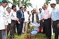 Narendra Singh Tomar planting a sapling at the Dedication Park, during his visit to the Rashtriya Ispat Nigam Limited (RINL), at Visakhapatnam. Dr. K. Haribabu, MP, Visakhapatnam, the Joint Secretary, Ministry of Steel.jpg