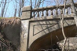 National Register of Historic Places listings in Otoe County, Nebraska - Image: Nebraska City concrete arch bridge balustrade and spandrel