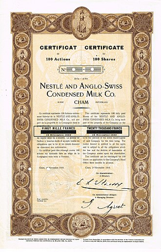 Nestlé - Certificate for 100 shares of the Nestlé and Anglo-Swiss Condensed Milk Co., issued 1. November 1918