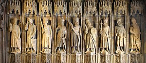 Oldest known sculptures of the Nine Worthies at the old city hall in Cologne, Germany.