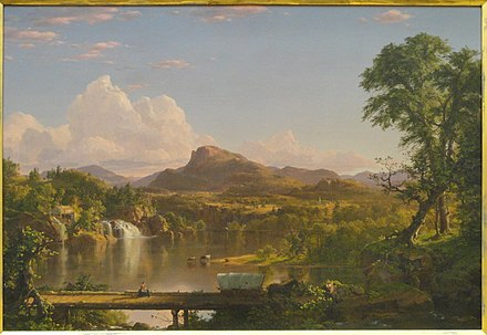 "New England Scenery (1851) was Church's ""first true composite landscape""--it used sketches from various locations to develop a more detailed and spatially complex landscape than found in Cole's work. New England Scenery, Frederic Edwin Church, 1851 - Museum of Fine Arts, Springfield, MA - DSC03984.JPG"