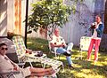 New Orleans - 232-20th St. - Big Daddy, Syl & me enjoying the backyard with iced tea - April 1973.jpg
