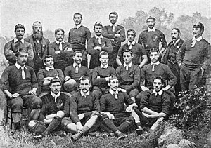 Patrick Keogh - A team photo of the 1888–89 New Zealand Native football team. Patrick Keogh standing on the far left.