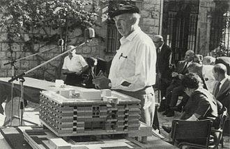 Arieh Sharon - Arieh Sharon with mock-up of Rambam Hospital, Haifa, 1966