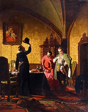 False Dmitry I - False Dmitry takes an oath of allegiance to king Sigismund III Vasa by Nikolai Nevrev (1874)