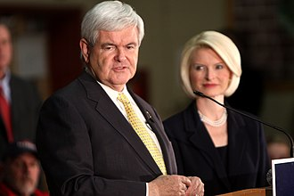 Newt Gingrich presidential campaign, 2012 - Gingrich and his wife in New Hampshire