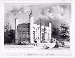 City Hall of Tilburg - Lithography by Willem Cornelis Chimaer van Oudendorp (1822-1873) of the New Royal Palace in Tilburg in 1849. In the drawing there's a mistake. The artist drew in the façade of the palace only six of the original eight windows on both sides of the entrance adjoining series of windows.