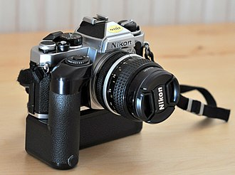 Nikon FE - Nikon FE with motor drive MD-12 and Nikkor AI 24 mm/f2