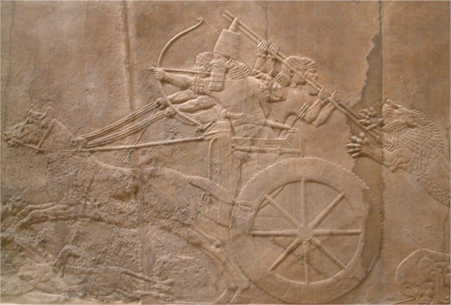 Nineveh north palace king hunting lion